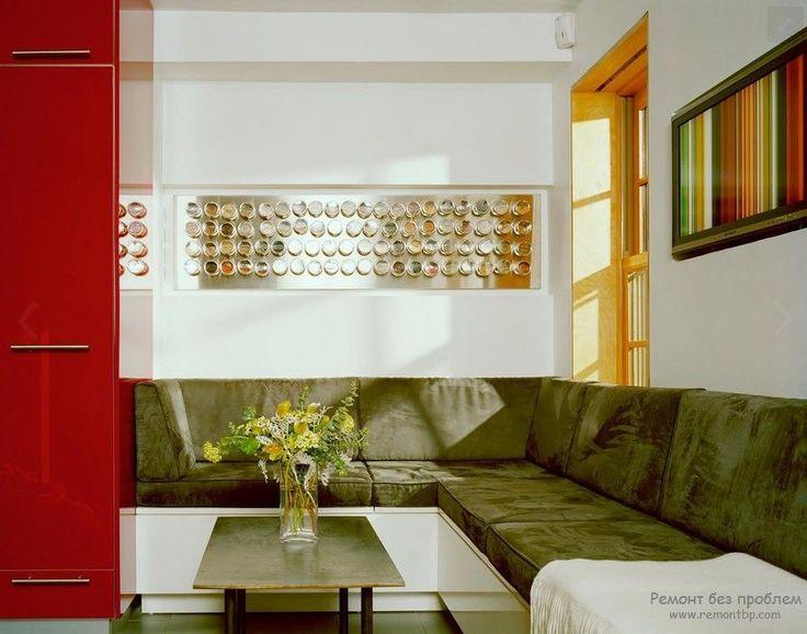 Кухонный спальный уголок с большим угловым диваном