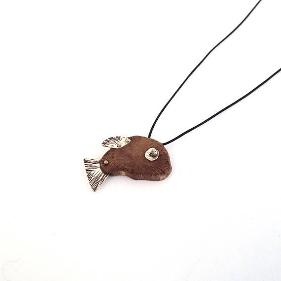 Fish Pendant, Pisces Necklace, Goldfish Necklace, Animal Jewelry, Wooden Fish Necklace, Fishing Gift, Marine Jewelry, Sea Creature Jewelry