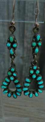 Vintage-TURQUOISE-ZUNI-PETIT-POINT-Native-American-Earrings-STERLING-SILVER-WOW