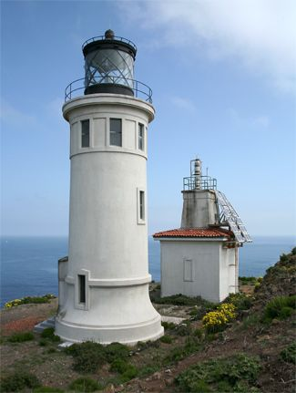 Anacapa Island Lighthouse, off of Ventura, California.  Anacapa Island is actually a chain of three small islands  linked together by reefs that are visible only at low tide.