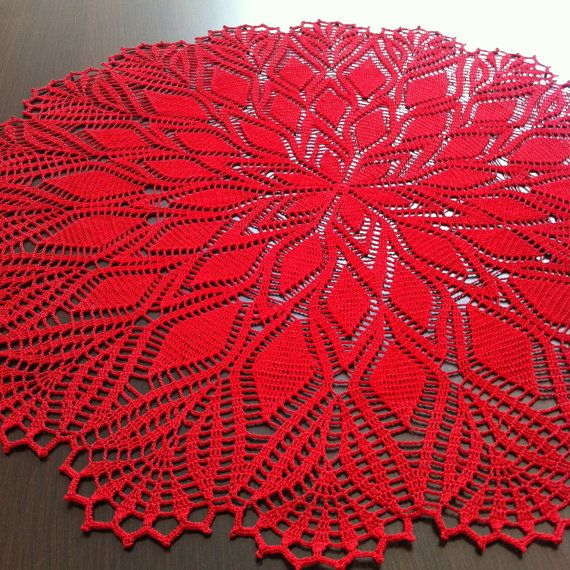 Passion - Handmade Crochet Lace Doily/Wall Decoration/Tablecloth (Red)