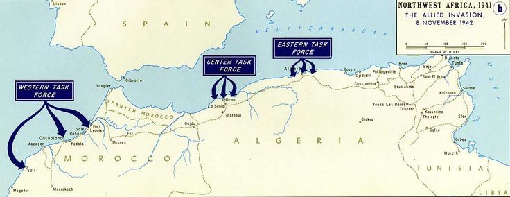 Map showing Operation Torch landings in North Africa, 8 Nov 1942