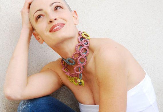 Statement crochet necklace / Long fiber by AliquidTextileJewels