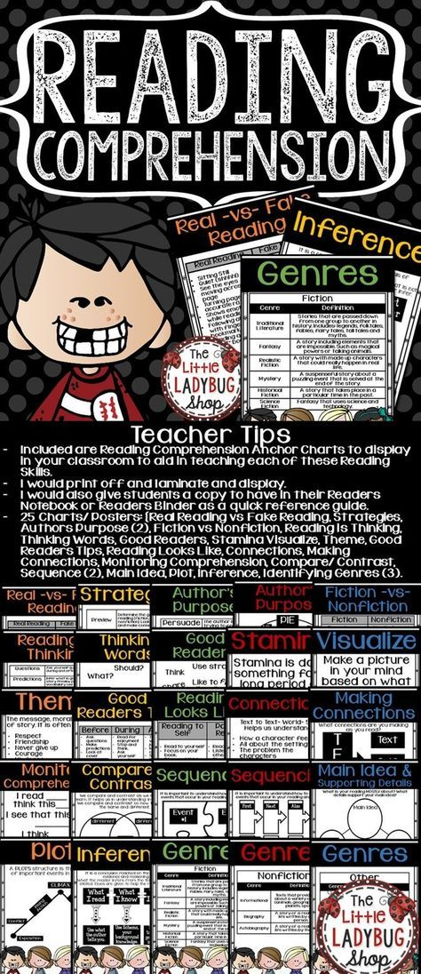 Reading Comprehension Posters • Reading Strategies Posters • Melonheadz Theme. 25 Reading Comprehension Posters and Charts to display in your classroom and for student notebooks to aid in teaching each of these Reading Skills. These are all colorful posters! You will LOVE displaying them in your classroom!