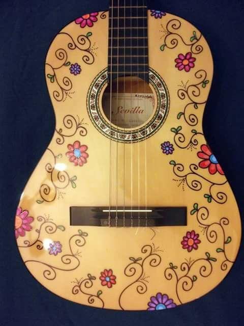 guitarra pintada julieta mora dibujos art pinterest