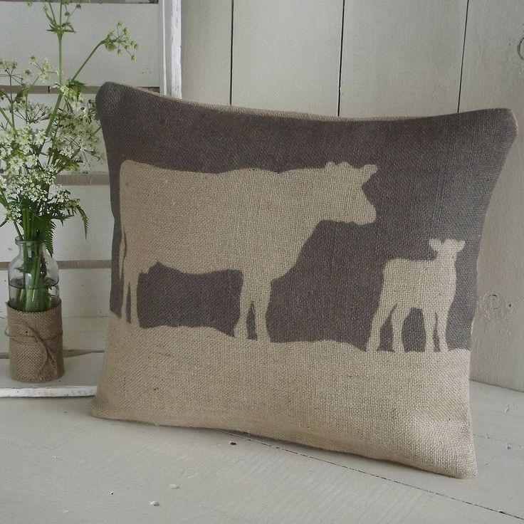 rustic cow cushion by rustic country crafts | notonthehighstreet.com