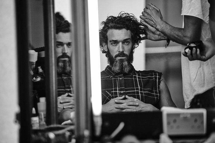 Menswear campaign star Richard Biedul captured backstage at the S/S15 La Perla shoot