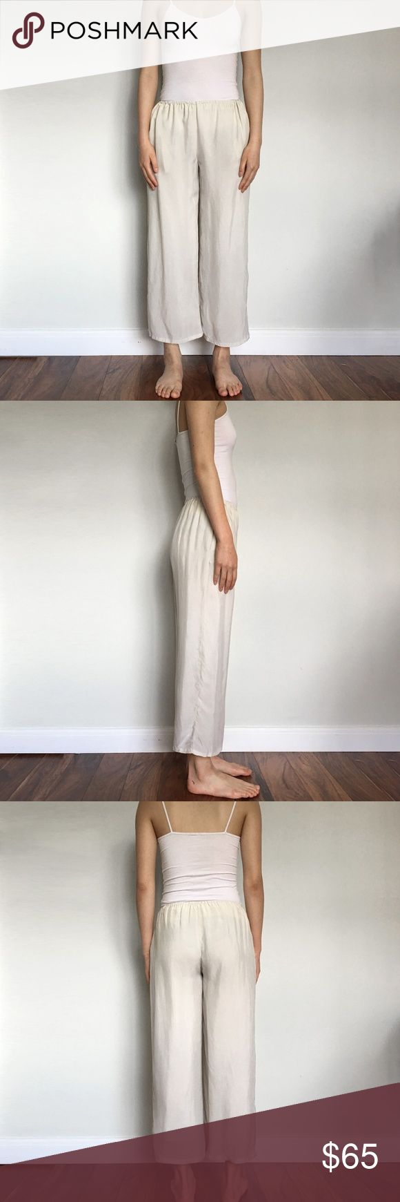 Objects Without Meaning - Beige Lounge Pant Comfortable wide leg lounge pants that breathes like cotton and feels like silk by Objects Without Meaning in beige. Features side pockets, thin elastic waistband, fully lined.  Size: XS  Details: 100% Cupro  Condition: Like New - No visible signs of wear Objects Without Meaning Pants Wide Leg