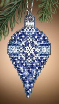 Mill Hill Sapphire Snow - Beaded Cross Stitch Kit. Kit includes: Beads, treasures, perforated paper, floss, needles, chart and instructions. Finished size: 3.5