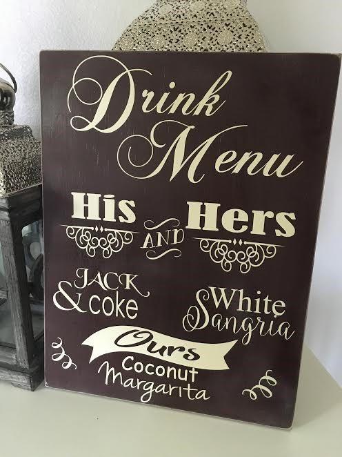 wedding drink menus