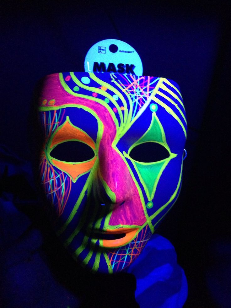 Black Light Ideas White mask(Party City)  Permanent Neon Markers (Sharpie) they glow under a black light  Decorate to your liking