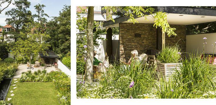 Bloemrijke natuurlijke stadstuin - gazon met bloemrijke borders en een zwevende overkapping met grind als beschut terras. #denkersintuinen www.denkersintuinen.nl