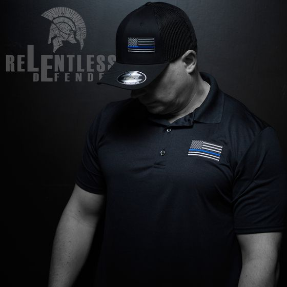 thin blue line, flag, relentless defender, support, polo, police