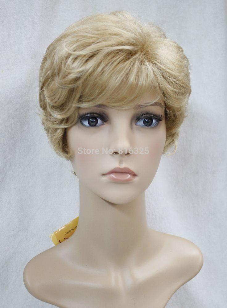 БЕСПЛАТНО P & P> Золотой Mix Короткие Вьющиеся Женщины Женщины Волосы Парик