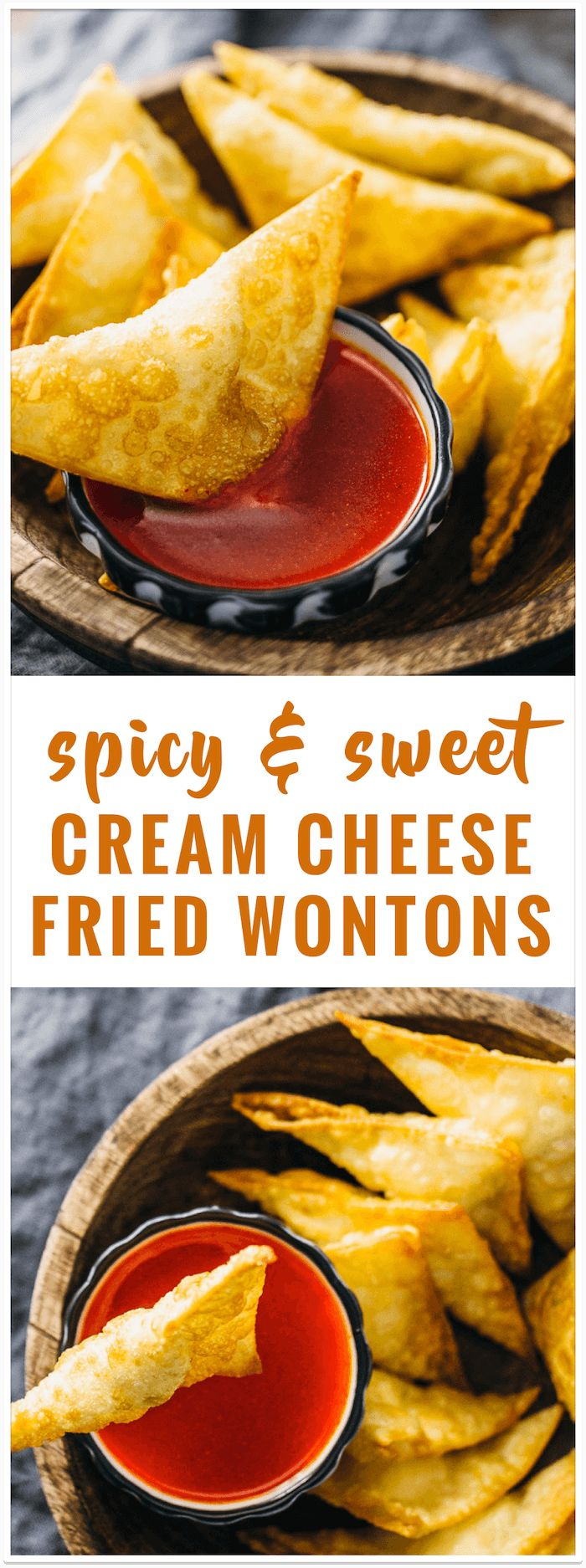 Spicy and sweet cream cheese fried wontons recipe: These fried wontons are stuffed with sweetened cream cheese and served with a sweet chili dipping sauce. via @savory_tooth