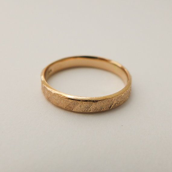 Rose gold wedding band Rustic yellow gold ring by noafinejewelry