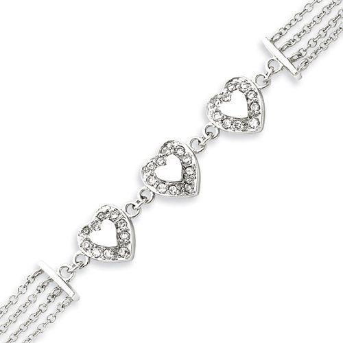 Sterling Silver Multi-Strand CZ Heart Bracelet - 7.25 Inch West Coast Jewelry. $117.95. Save 26% Off!