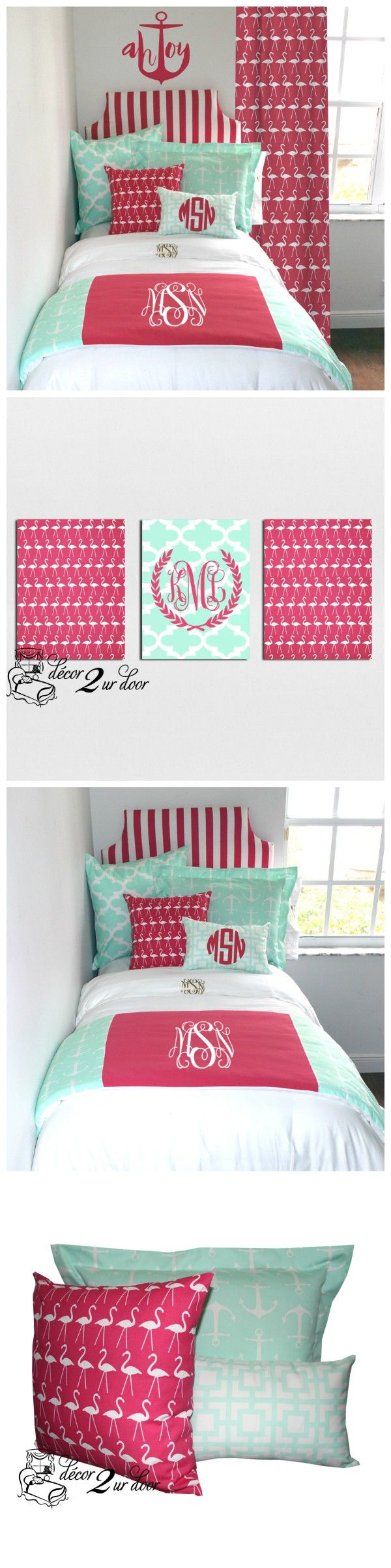Mint and pink bedroom. Designer headboard, custom pillows, exclusive bed scarf, window panels, wall art, bed skirts, twin/queen/king duvet and custom monogramming!! Perfect for college, apartment, or teen bedding!! Designer Dorm Room Bedding. Teen room makeover. College apartment bedding and décor.