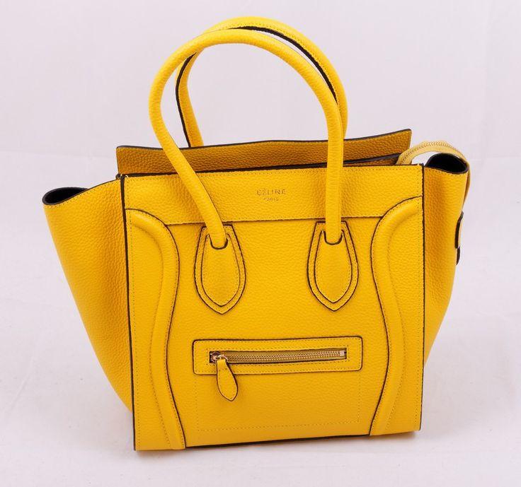 Сумка CELINE (Селин) Boston bag из натуральной кожи желтая