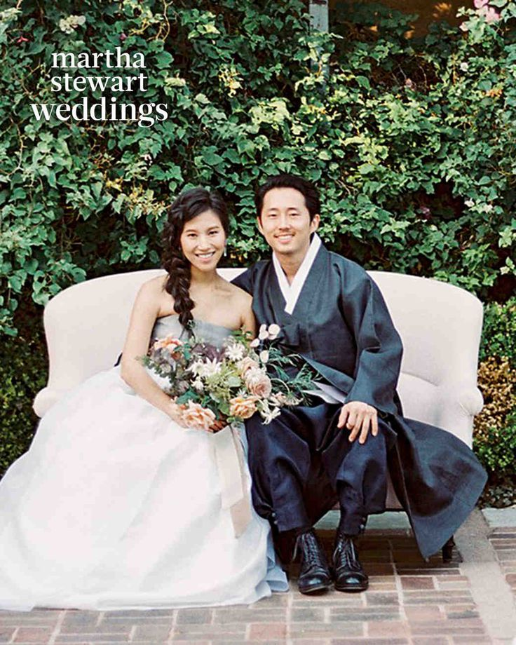 Steven Yeun + Joana Pak // Location: The Paramour | Event planning and design: So Happi Together | Catering: Urban Palate | Flowers: Studio Mondine | Photography: Sally Pinera | Calligraphy: Red Letter Day | Desserts: M Cakes Sweets | Rentals: Casa de Perrin, Found Vintage Rentals, Town & Country Event Rentals | Bride's attire, MeeHee Hanbok Couture (ceremony), The Row (reception) | Groom's hanbok: Bettl Hanbok
