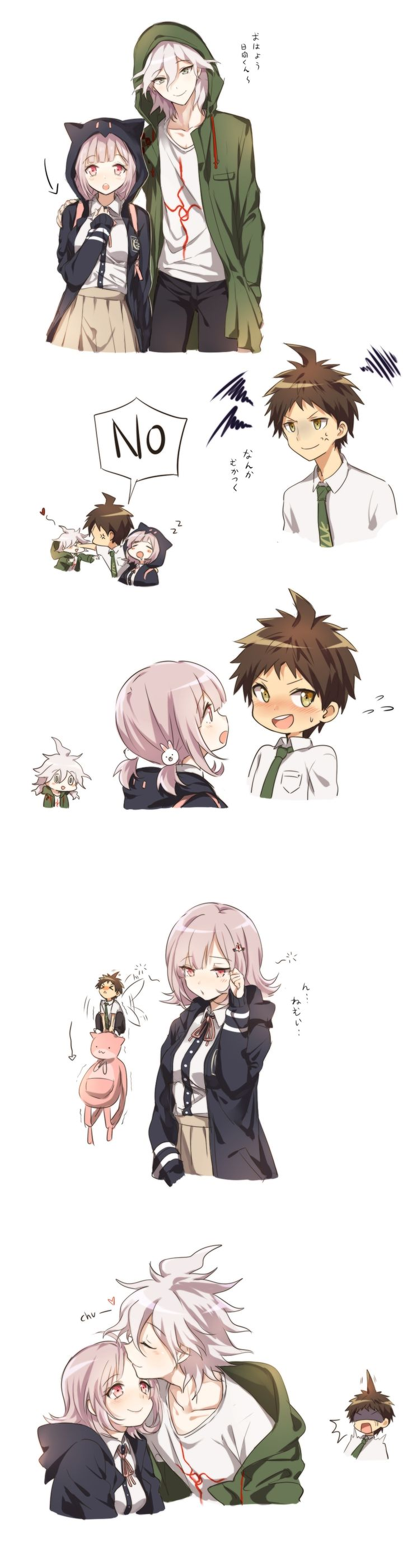 SDR2 - This is just what DR3 should be instead of inevitable heartbreak and tears--Hinata and Komaeda fighting over Nanami while she's not interested in either of them, but enjoys the attention. Yeah.
