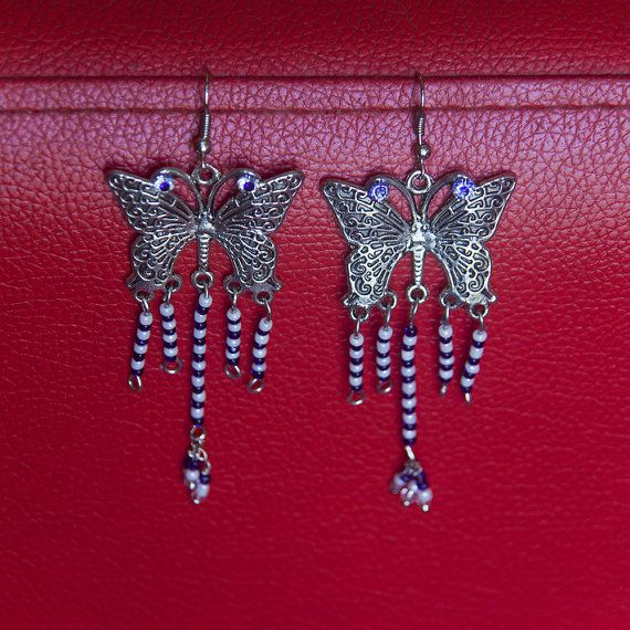 Blue and white beads butterfly danglers  Plated brass by Shimmeria