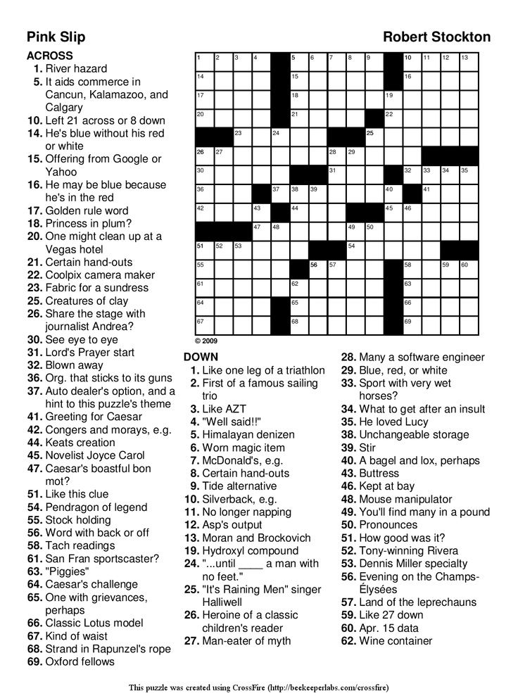 It is a graphic of Gutsy Free Printable Crossword Puzzles With Answers