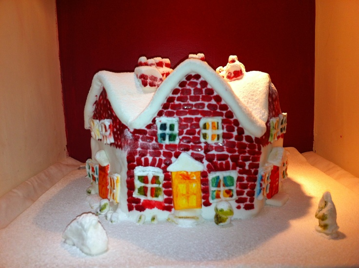 Over the rooftops... A christmas fruit cake covered on marzipan and icing.