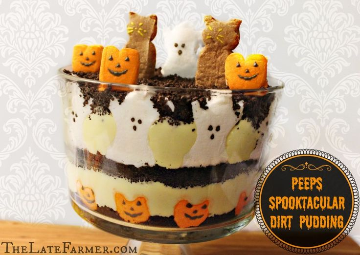 Peeps Halloween Pudding Dessert - easy and spooky!