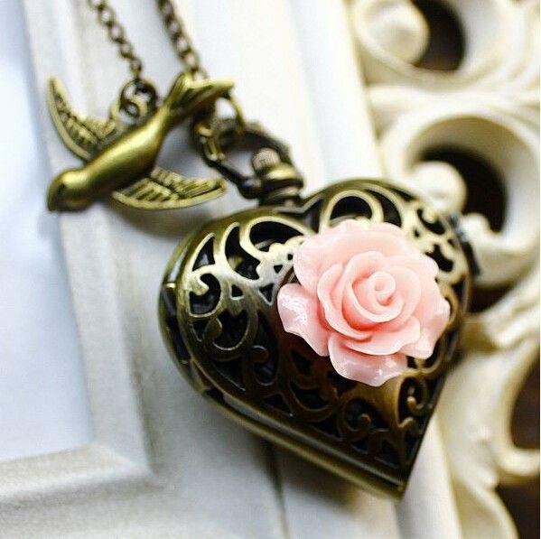 Карманные часы Relogio де bolso качество старинные скелет форме сердца розы бронзовый карман фоб часы ожерелье купить на AliExpress