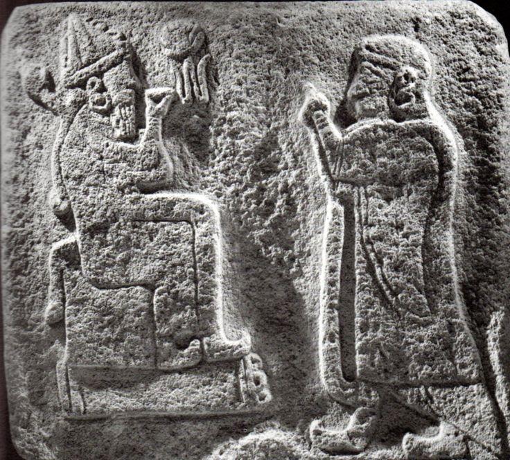 Hittite, weather god and a man who worshiped, Alaca Höyük, Museum of Anatolian Civilization, Ankara (Kurt Bittel) (Erdinç Bakla archive)