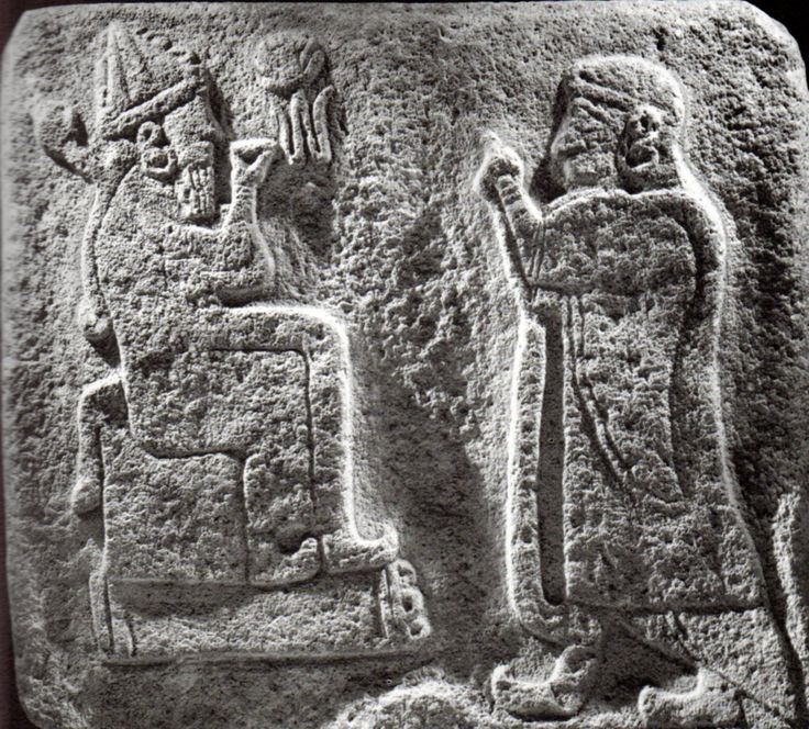 Hittite, weather god and a man who worshiped, Alaca Höyük, Museum of Anatolian Civilization, Ankara (Kurt Bittel) (Erdinç Bakla archive)