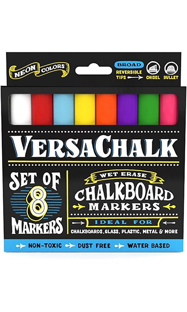 Chalk Markers for Chalkboard by VersaChalk (Reversible Tip, Neon) - Erasable Dustless Water-Based Non-Toxic Liquid Wet Erase Pens Best Price