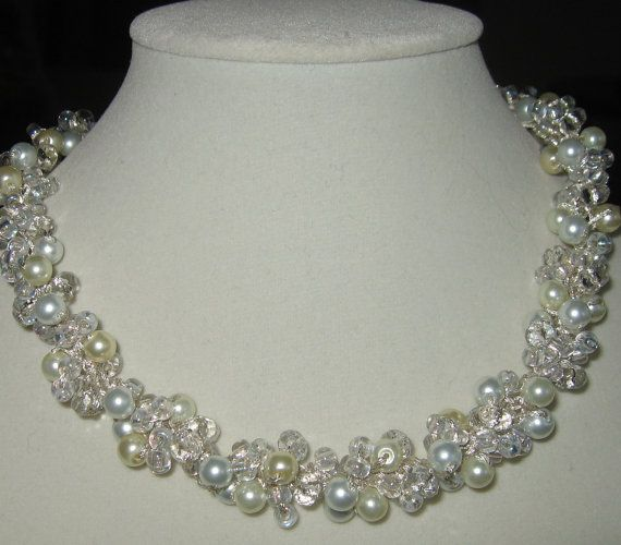 Chic Pearl Crystal Cluster Bridal Wedding by SerebaDesigns on Etsy