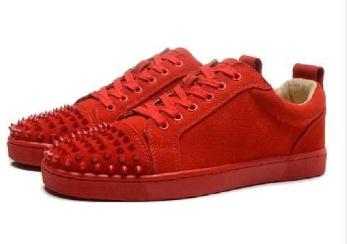 95fd6e8572a New Brand Red Bottoms High Top Women And Men Sneakers Genuine Leather  Fashion Casual Shoes With Rivet Spike Chaussures Femmes 35 47 Comfort Shoes  Sneakers ...