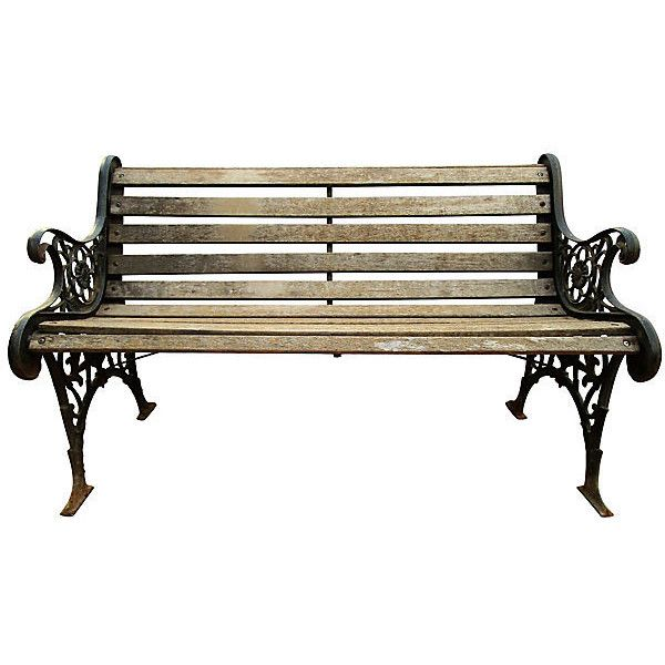 excellent preowned antique french iron u wood park bench. Black Bedroom Furniture Sets. Home Design Ideas