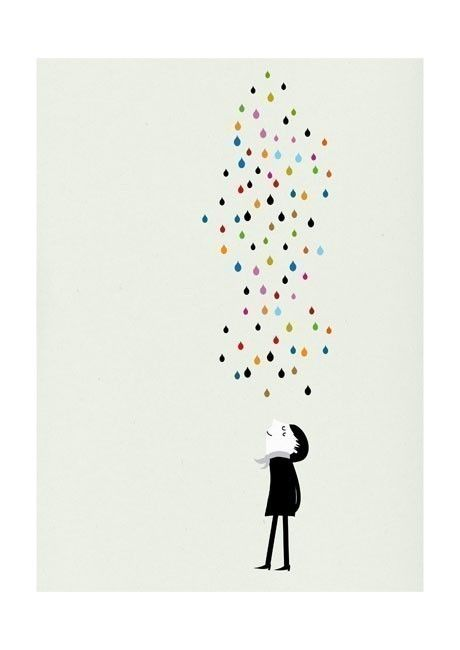 Monsieur under the rain print