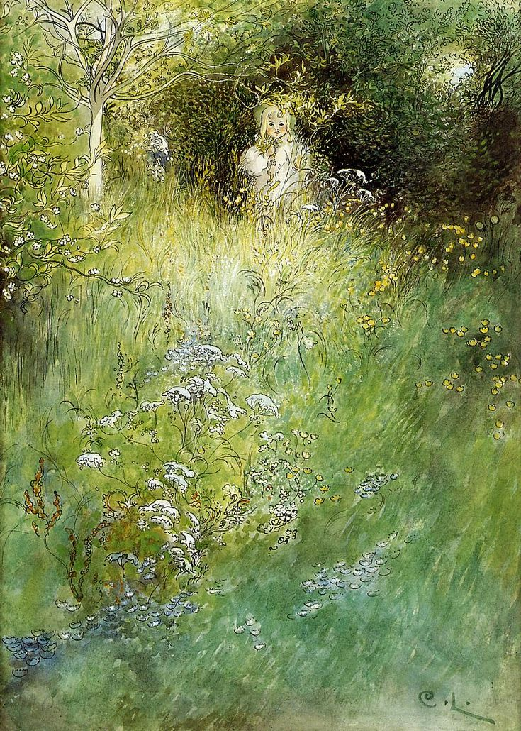 A FAIRY, KERSTI AND A VIEW OF A MEADOW - CARL LARSSON, 1899