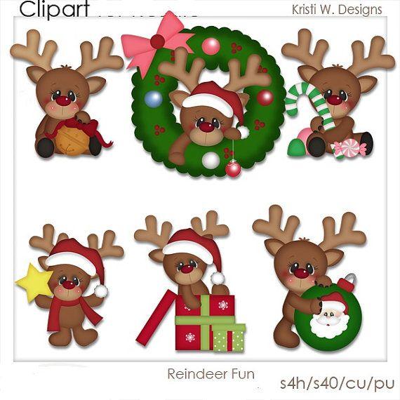 DIGITAL SCRAPBOOKING CLIPART  Reindeer Fun by BoxerScraps on Etsy, $1.00