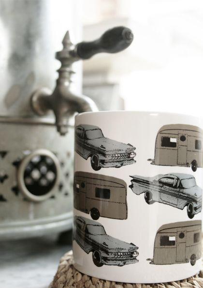 Vintage Car and Caravan Mug - Folksy