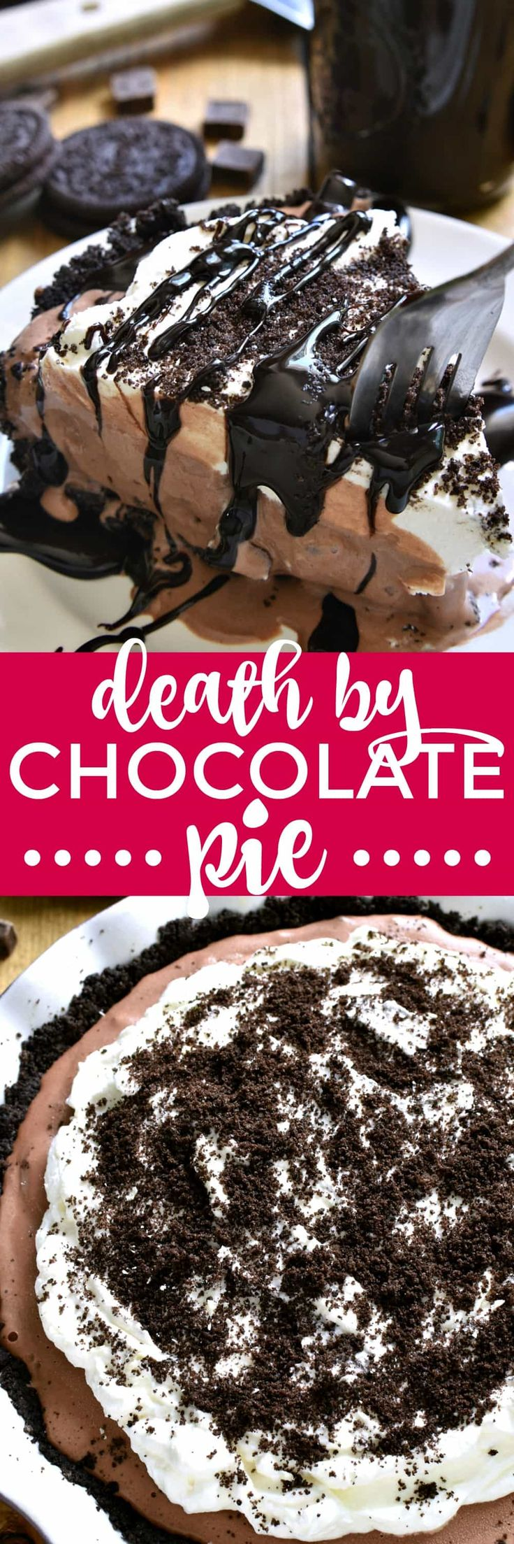 Frozen Death by Chocolate Pie | Lemon Tree Dwelling | this is the ULTIMATE chocolate lover's treat! Loaded with delicious chocolate flavor and topped with homemade whipped cream and hot fudge, this pie is perfect for birthdays, ladies nights, or special occasions. And best of all, it's completely no-bake!