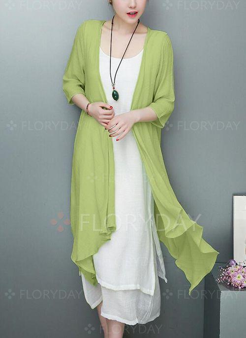 c4149966014b48 Dress -  63.87 - Color Block 3 4 Sleeves Midi Shift Dress (1955261744)