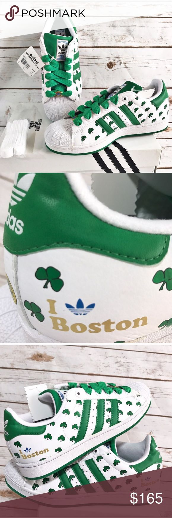 ADIDAS SUPERSTAR 35TH ANNIVERSARY EDITION BOSTON ADIDAS SUPERSTAR 35TH ANNIVERSARY EDITION RARE 26 Cities Boston # 132319 Love this pair . SHAMROCKS SHELL TOE Classic Adidas with extra love . WHITE LACES also included. NWT IN BOX . These are a collectors edition of classic Adidas cross listed since they can certainly be unisex . Men's size 8 which according to runners world sizing chart equals a women's 9.5 36th Anniversary collectors edition 🌑 adidas Shoes Sneakers