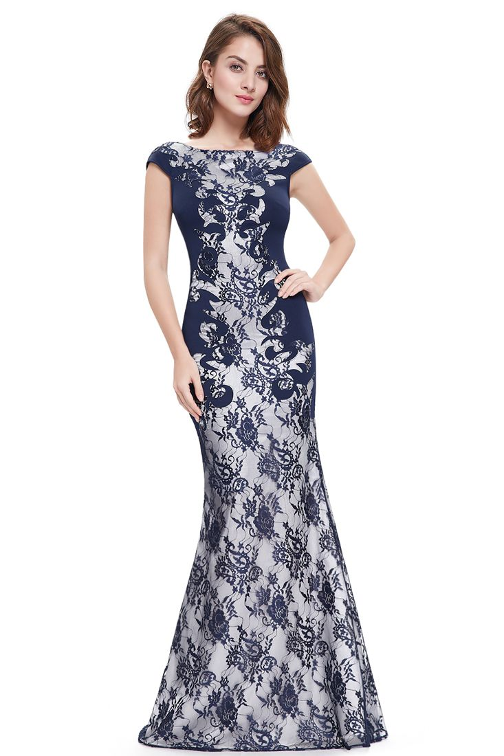 Navy Blue Lace Detail Stretchy Mermaid Evening Dress.