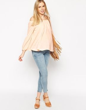 Enlarge ASOS Maternity Smock Top With Off Shoulder In Texture