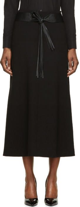 Saint Laurent Black Wool Crêpe Fringe Belted Skirt