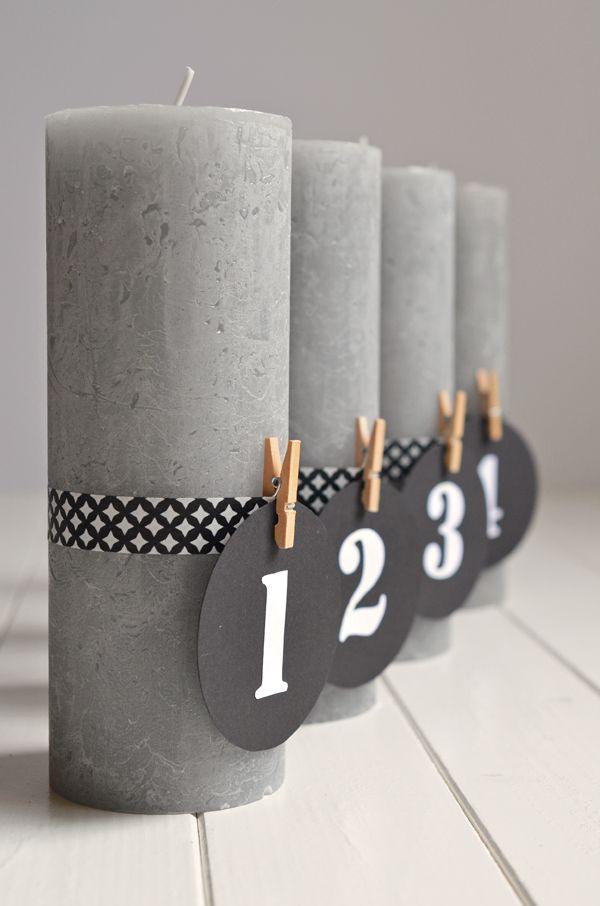 DIY für puristische Adventskerzen mit Zahlen (und ohne Tannengrün!) - advent candles, pure, elegant and lovely, easy diy