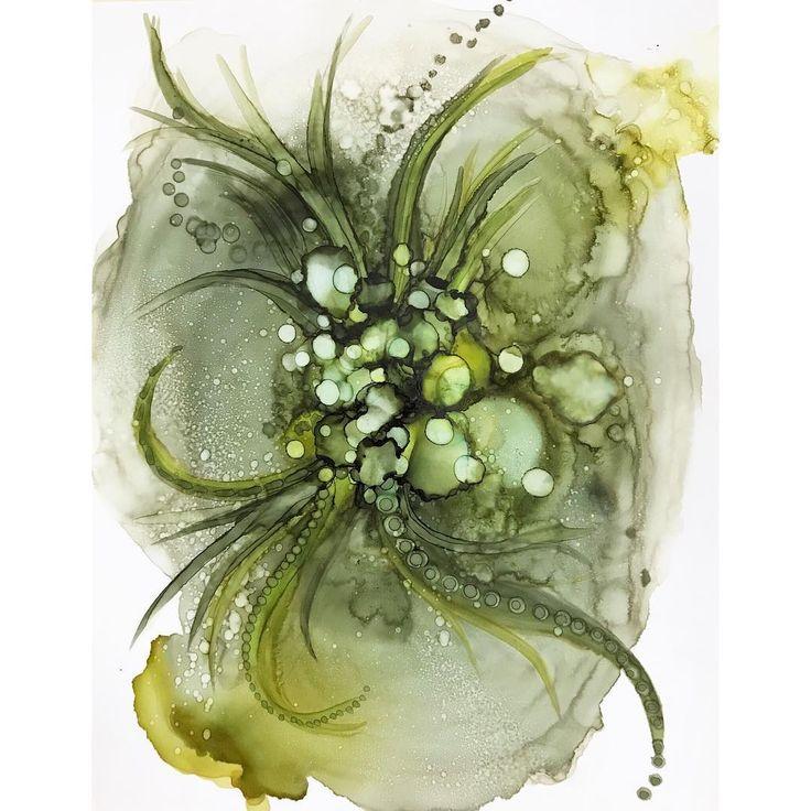 "I think I made a plant monster. .11x14"" on mineral paper. . . . . . . . . . #alcoholink #inkartist #abstractartwork #artflow #highvibes #fluidpainting #abstractpainting #artsyaf #artsyfartsy #pnwartist #seattleart #trendyart #interiorart #homedecor"