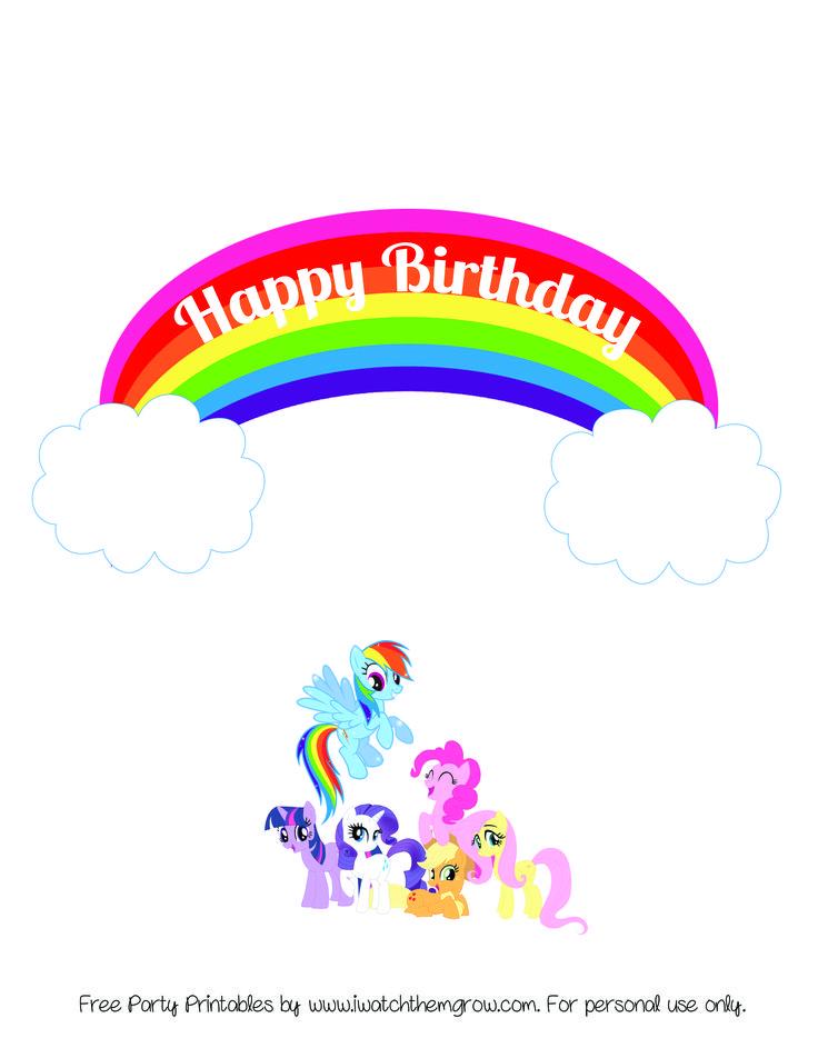 RainbowMLPCakeTopper.jpg 2,550×3,300 pixels Doğum günü