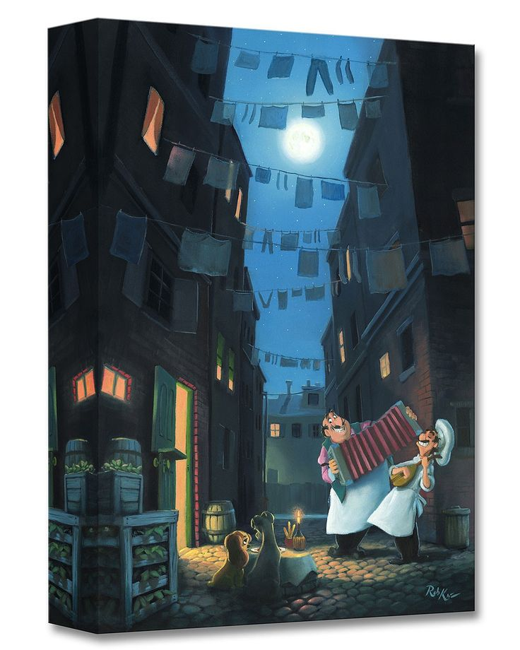 Lady and the Tramp - Serenade of the Heart - Gallery Wrapped - Rob Kaz - World-Wide-Art.com - #disneyfineart #robkaz #disneytreasuresoncanvas #gallerywrapped #ladyandthetramp